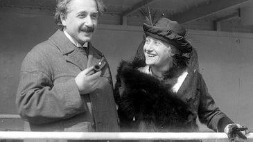 Albert Einstein and Elsa Einstein in black and white