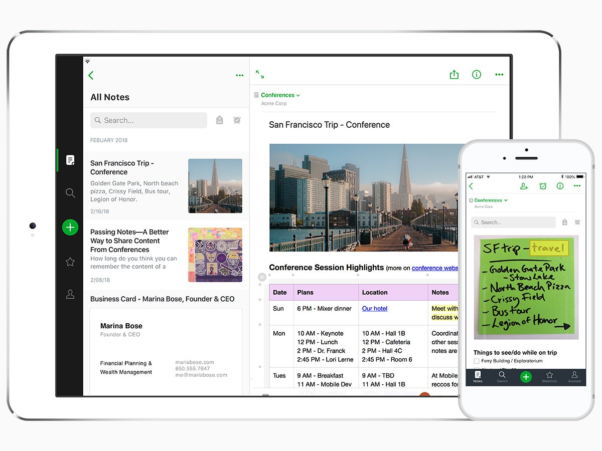 The Evernote app for the iPad Pro.
