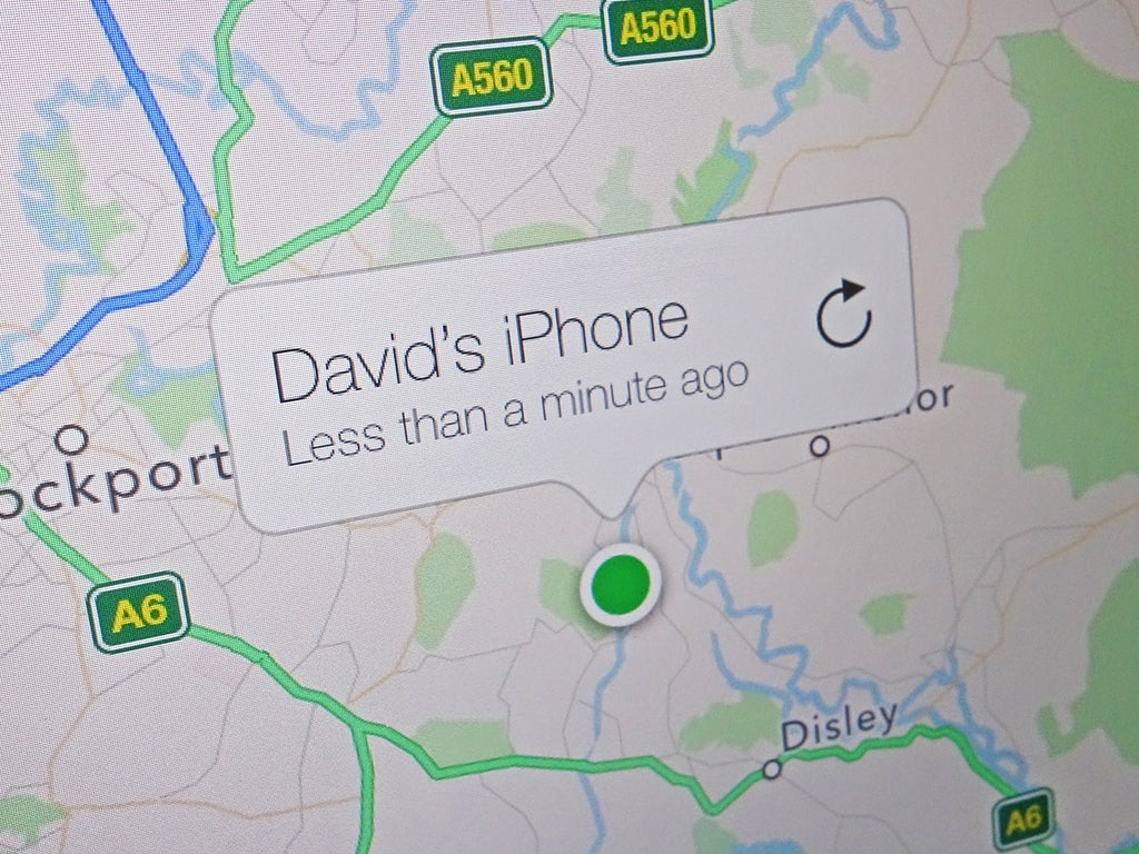 An Apple Find My map displaying the location of David's iPhone.