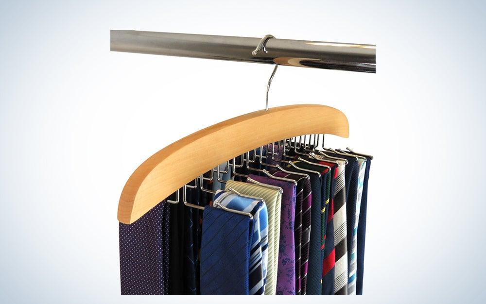 Hangerworld Premium Wooden Tie Hanger Rack Organizer