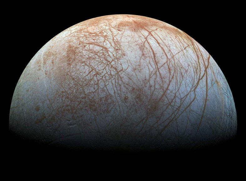 icy surface of Jupiters largest moon, Europa