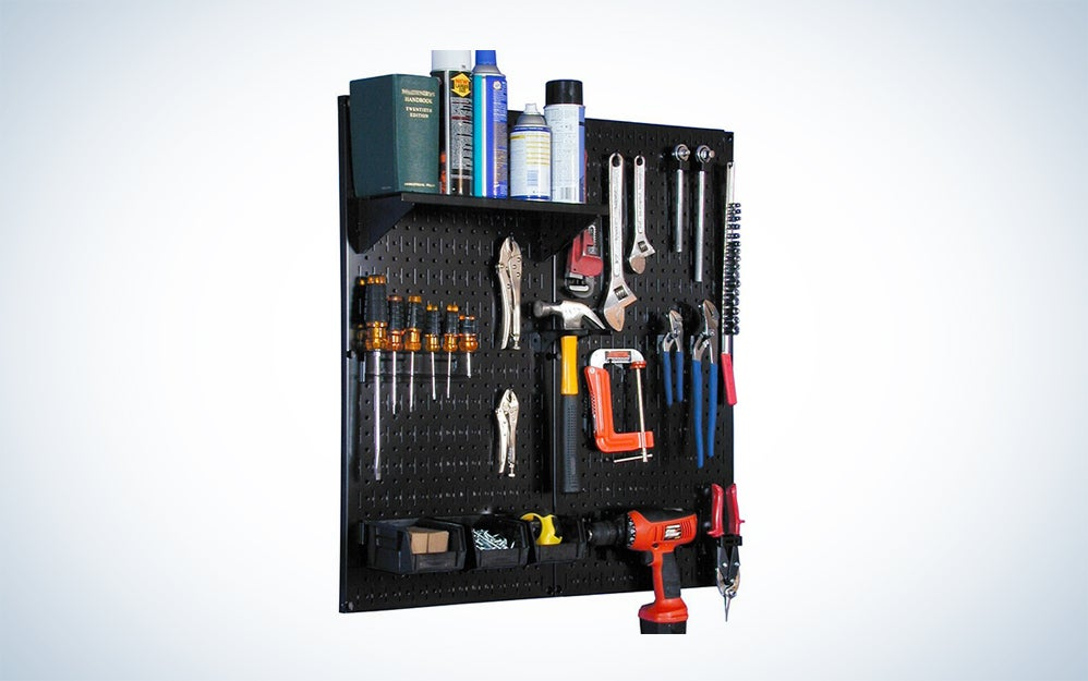 Wall Control Metal Pegboard Utility Tool Storage Kit with Black Pegboard and Black Accessories