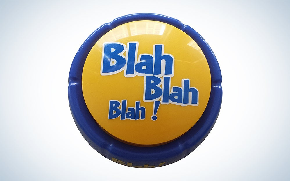 Yellow and blue blah button