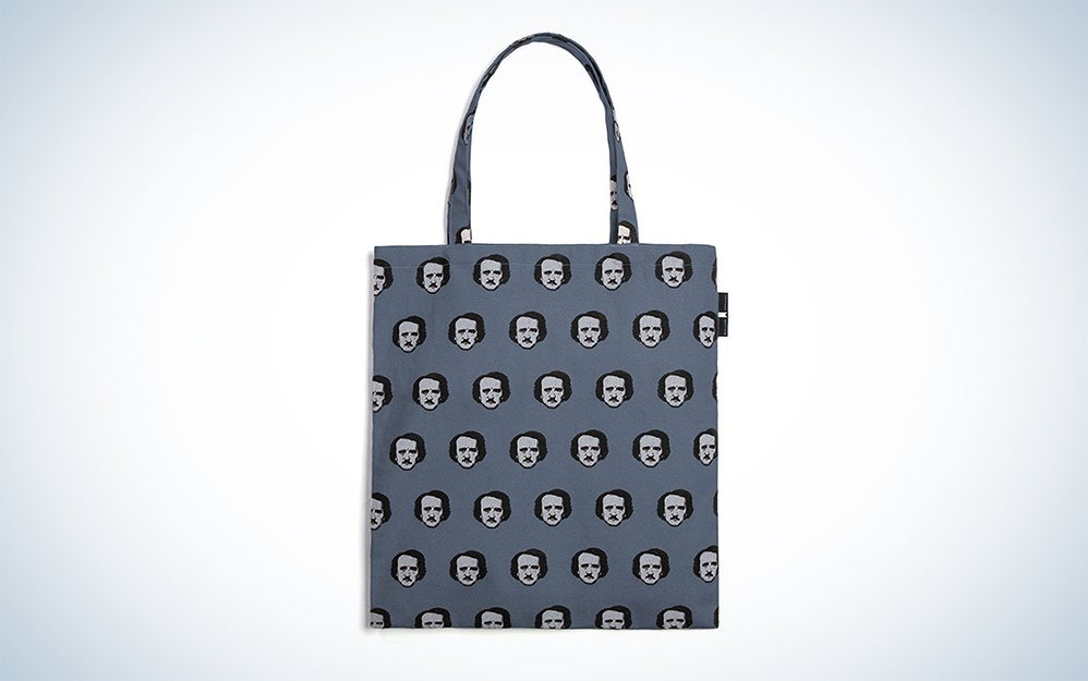 Gray tote bag with Poe's face