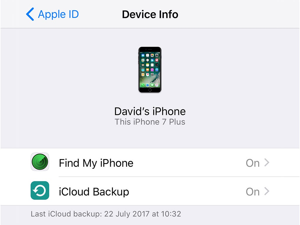 The Find My app on an Apple iPhone.