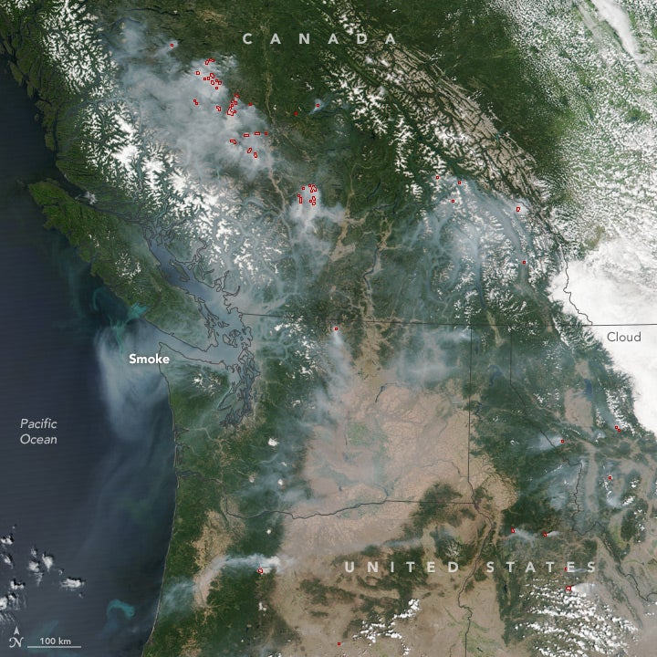 Fires over British Columbia as seen from space