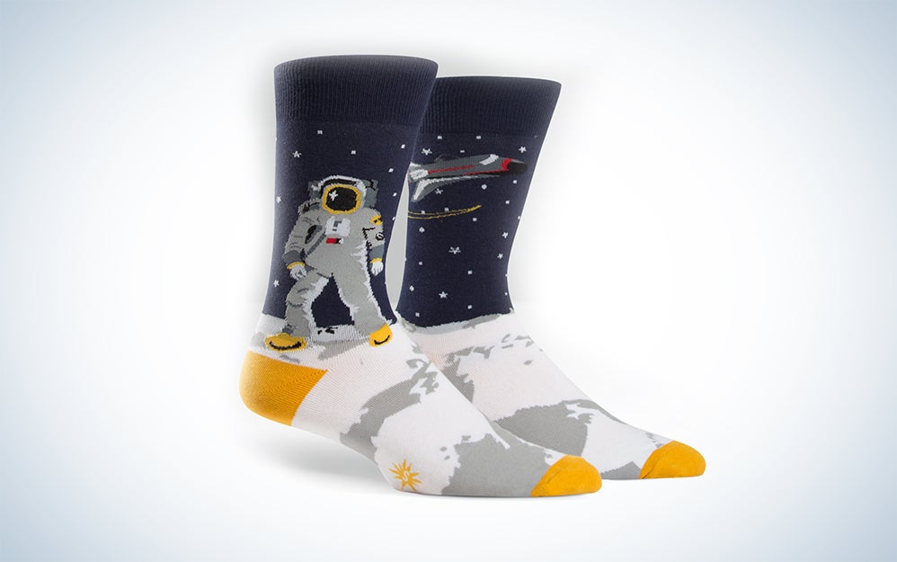 Yellow-toed and heeled socks with astronauts on the moon