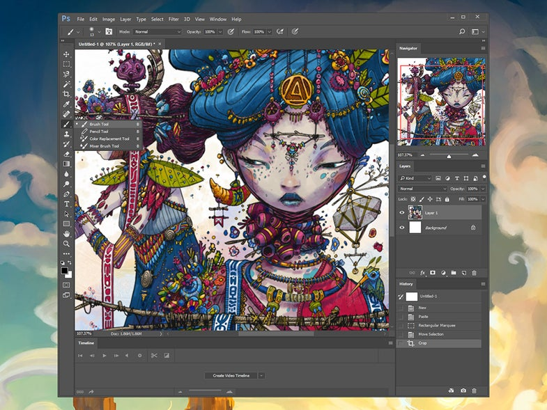 The main interface in Adobe Photoshop.