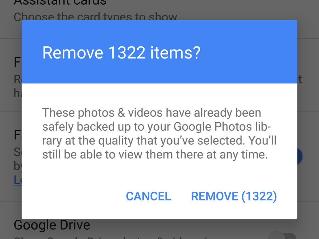 a screenshot of Google Photos asking to delete images