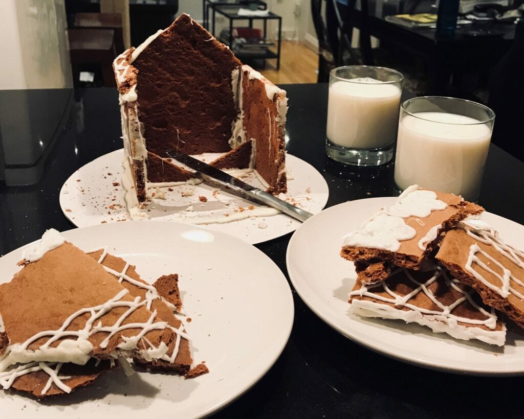 destroyed gingerbread house