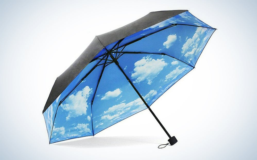 Black umbrella with sky printed on the inside