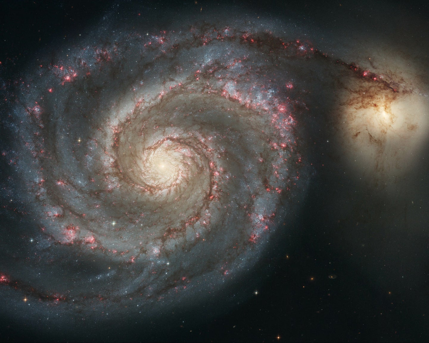 a large spiral galaxy next to a smaller ball of light in space