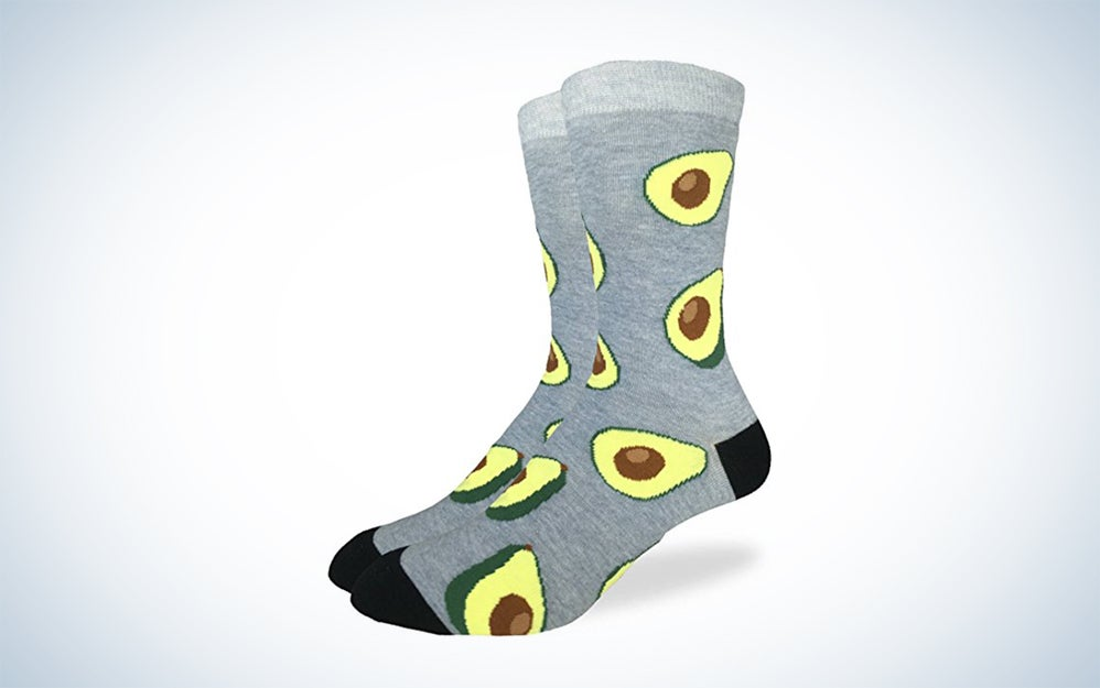 Gray socks with avocadoes