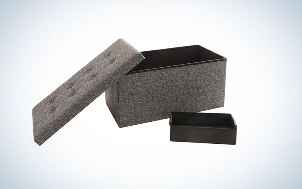 Seville Classics Foldable Tufted Storage Bench/Ottoman