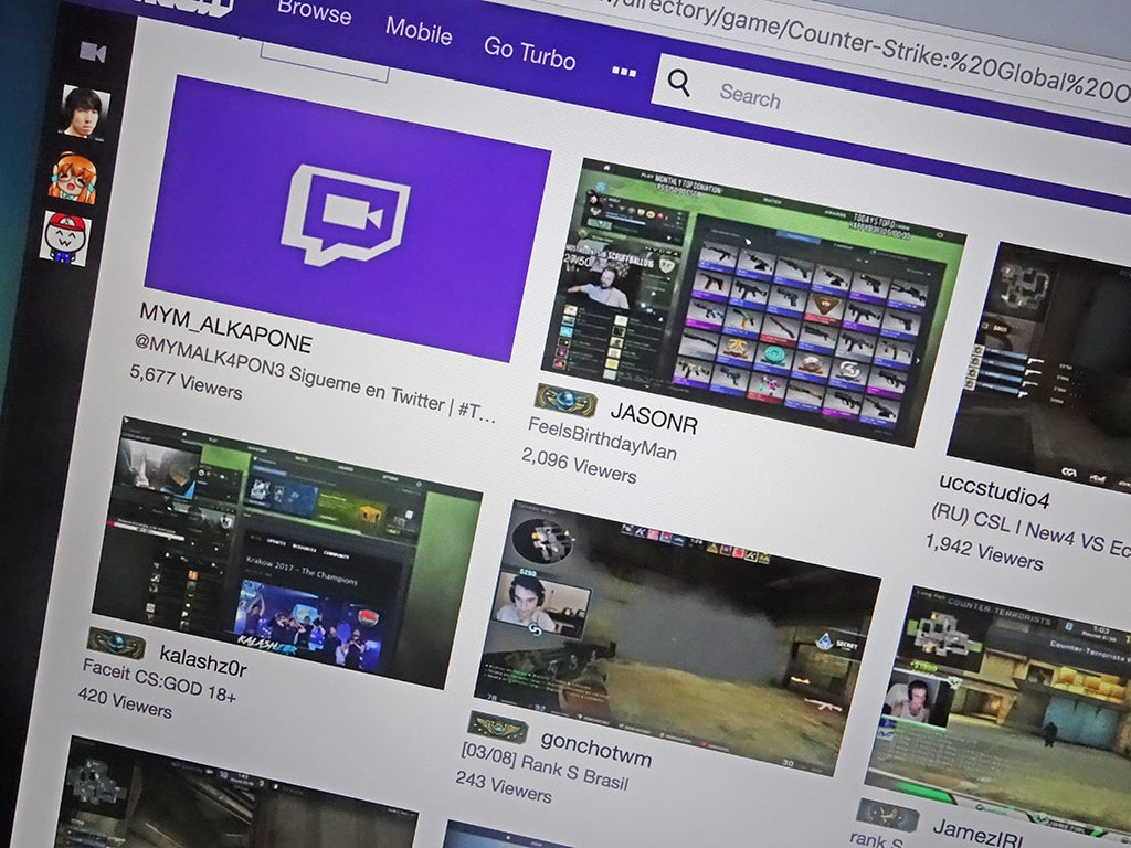 a screenshot of Twitch, for livestreaming video games