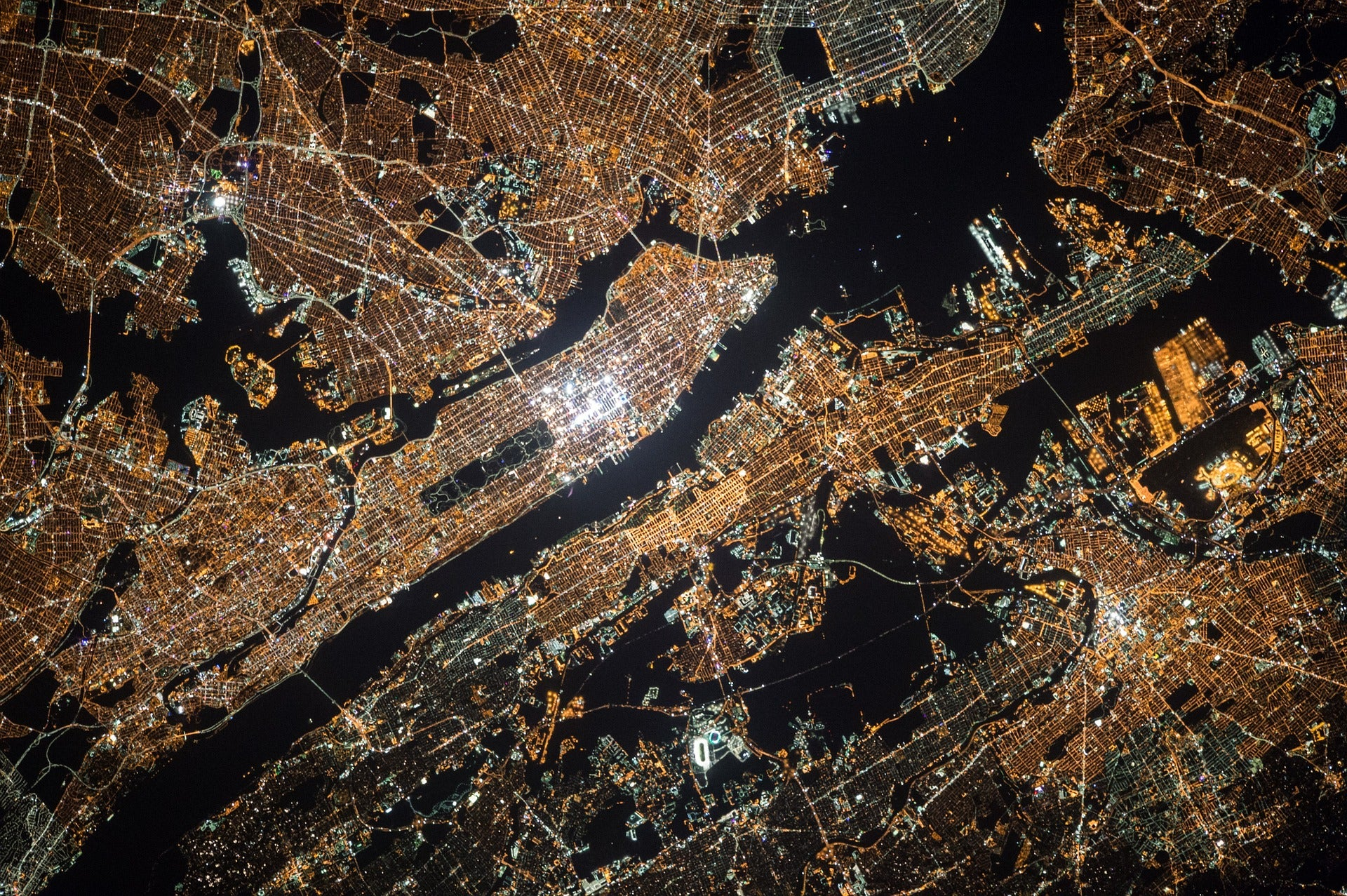 An aerial view of New York City at night.