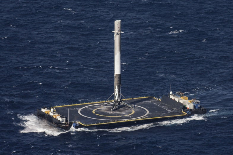 falcon 9 engine on drone ship