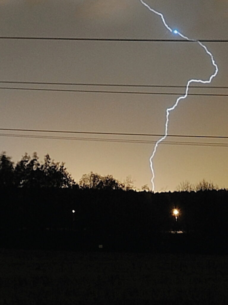Lightning strikes an airplane near the Helsinki Airport on October 19, 2011.
