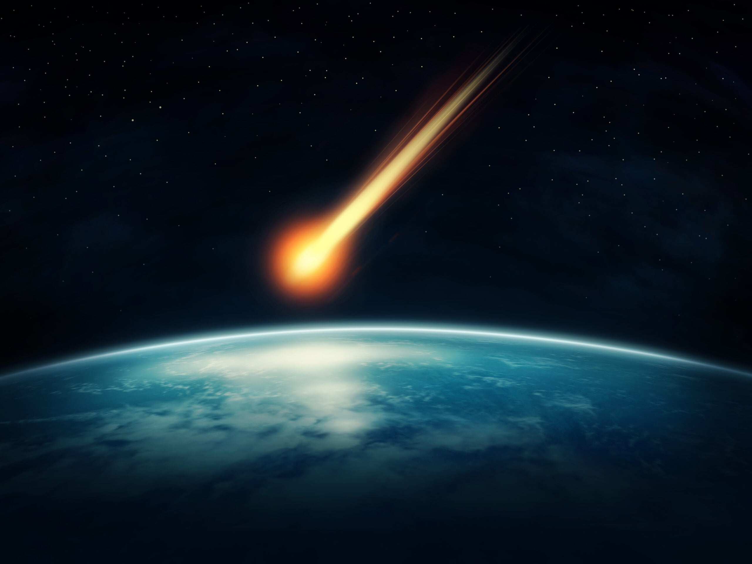 a meteor above earth