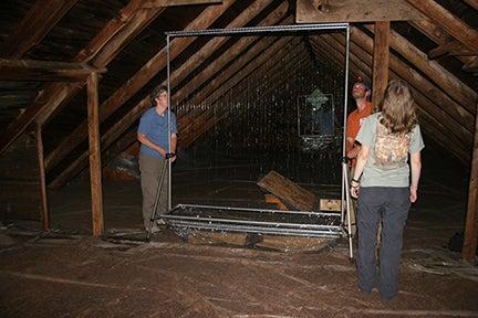Biologists Setting up Harp Trap