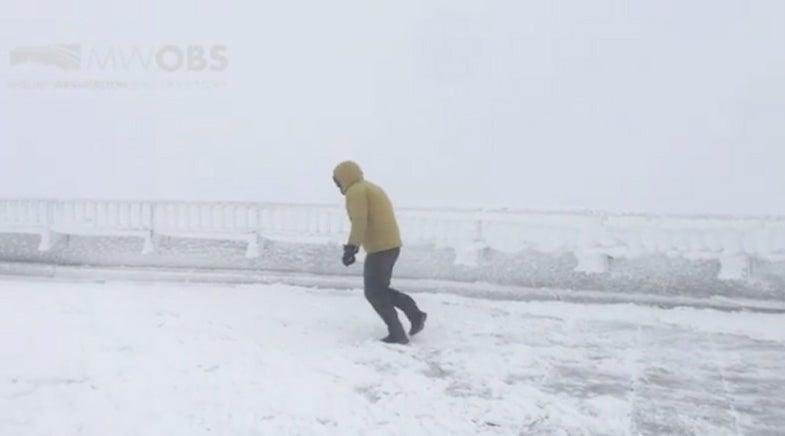 men in the snow