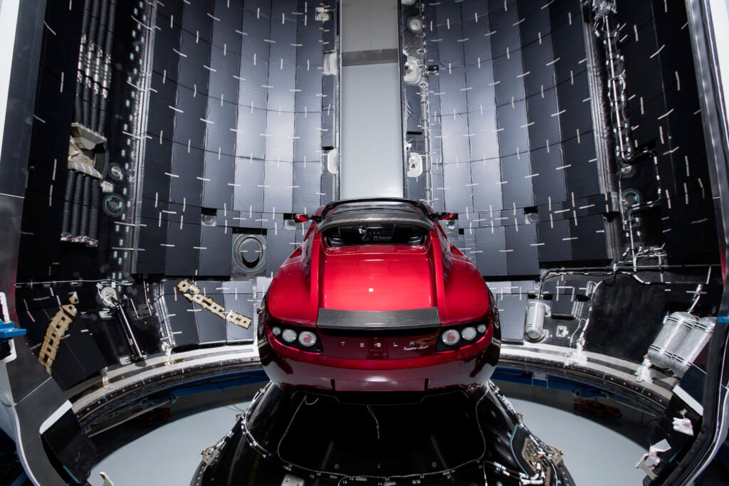 Elon Musk's Tesla inside the Falcon Heavy