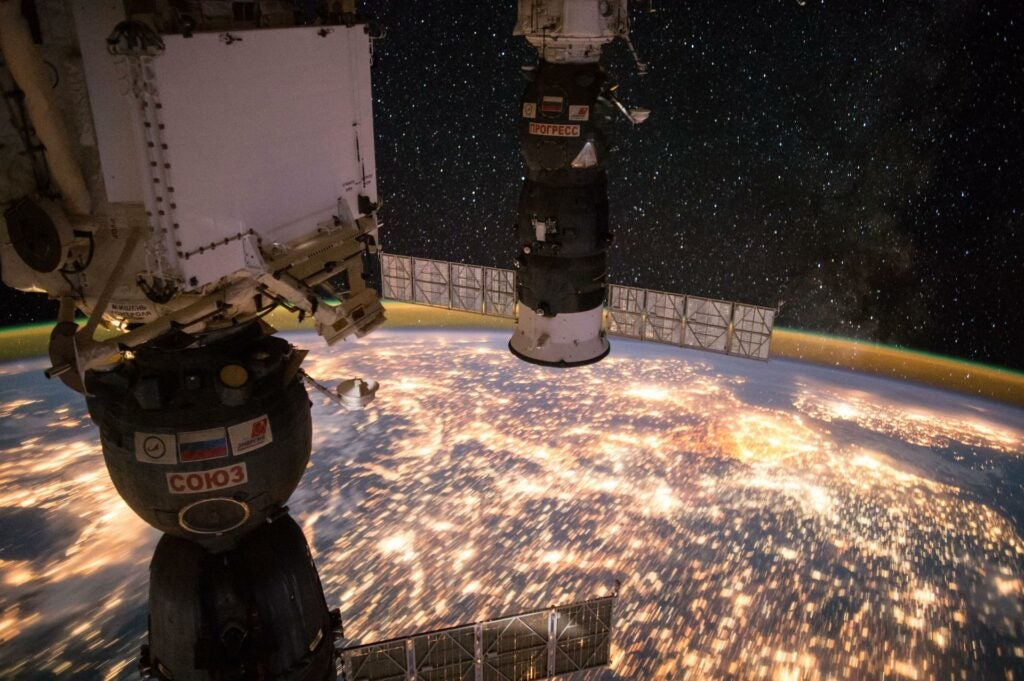 view of earth at night from ISS