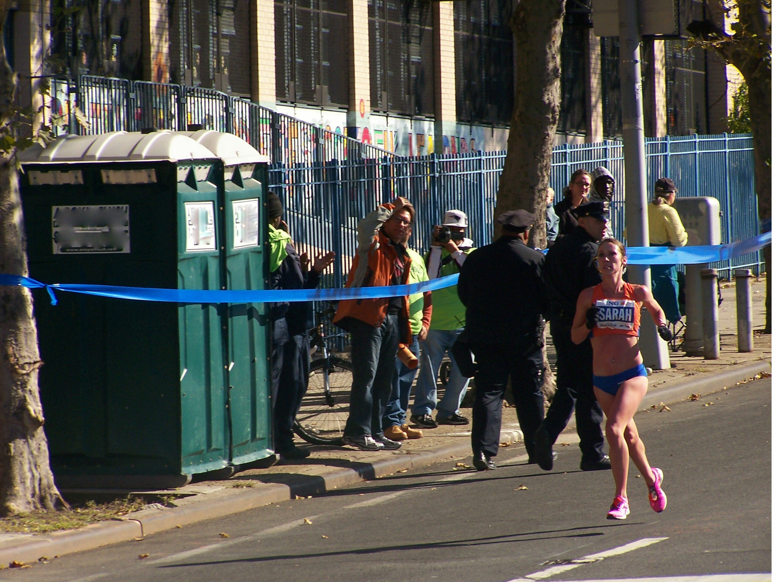 Sarah Porter comes in 21st place in the 2011 TCS marathon, with the help of some portable toilets.