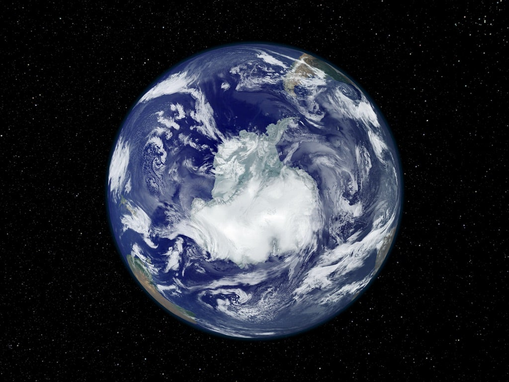 the earth's north pole viewed from space