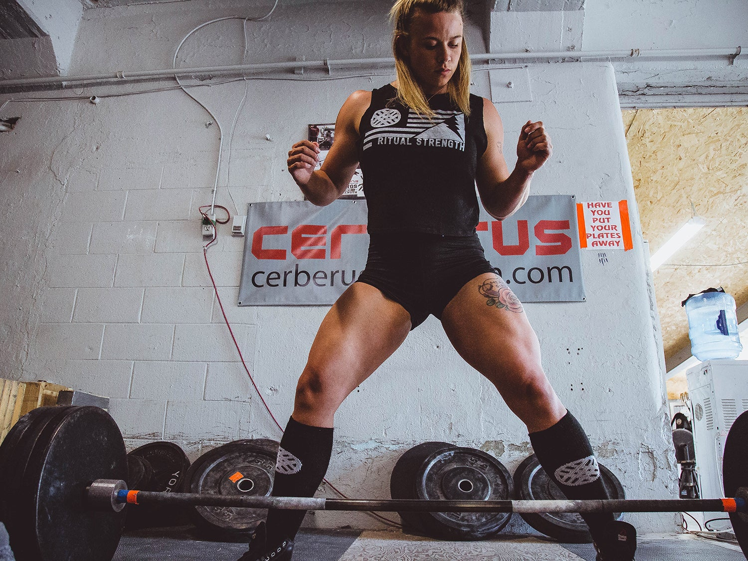 Strong woman lifting weights and a barbell at the gym