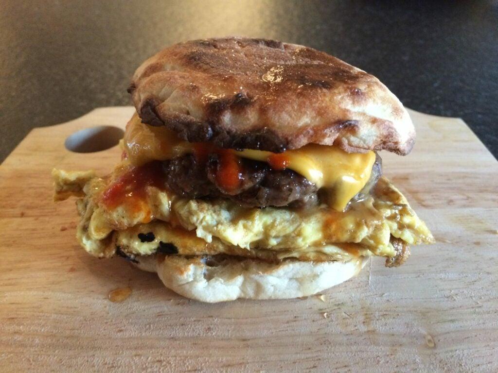A breakfast sandwich