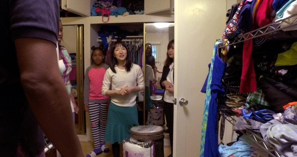 Marie Kondo in a messy closet