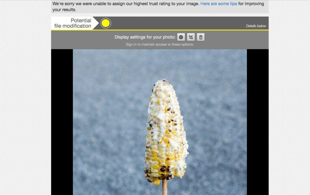 Izitru.com thinks my corn is fake