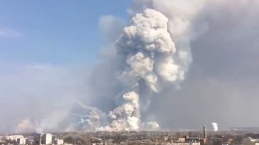 Smoke from ammunition depot explosion