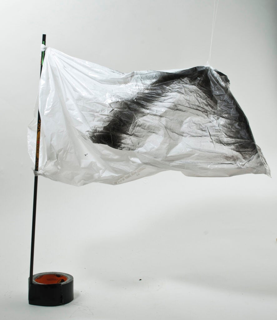 a duck decoy made out of a trash bag
