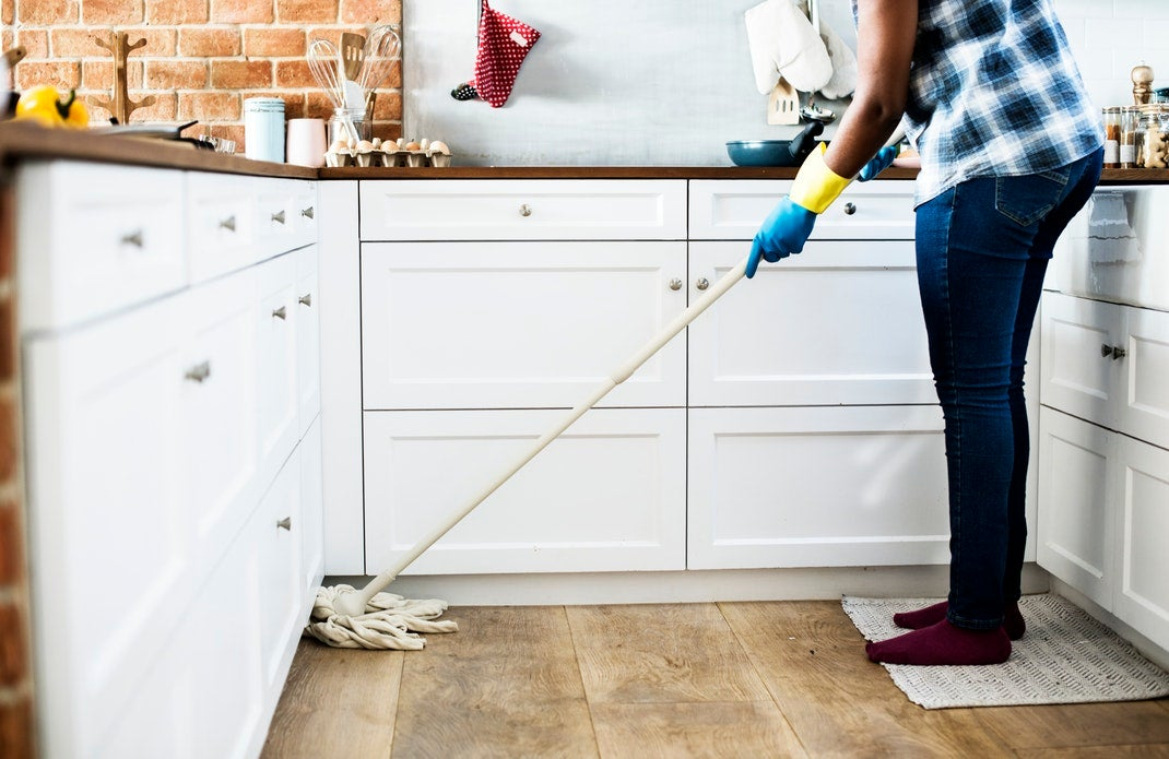 mopping the kitchen floor