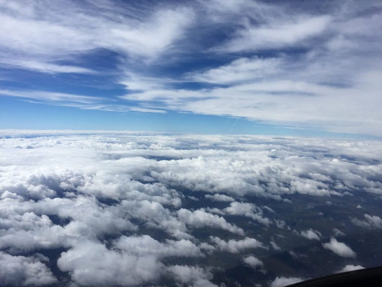 Up in the clouds.