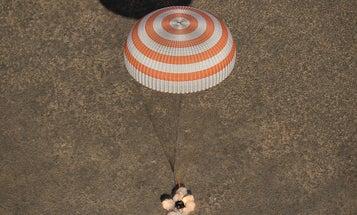 Watch the Soyuz 50 spacecraft land pretty much perfectly