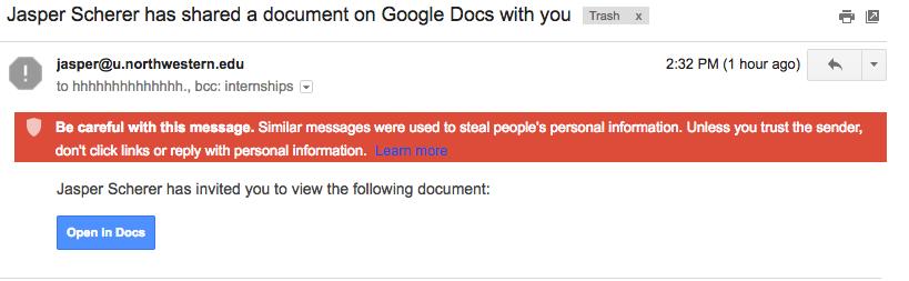Google Docs Gmail Hack