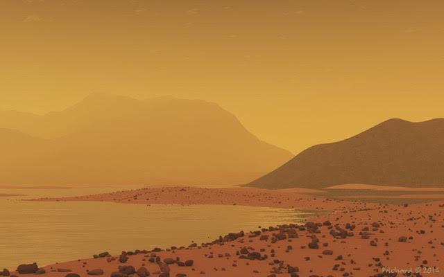 Artist rendering of Titan's shores