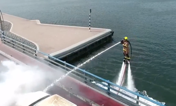 And now, a firefighter in Dubai drowns a car fire on a jetpack