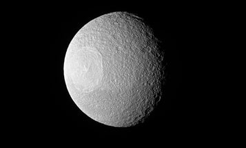 This moon looks just like the Death Star, which isn't suspicious at all
