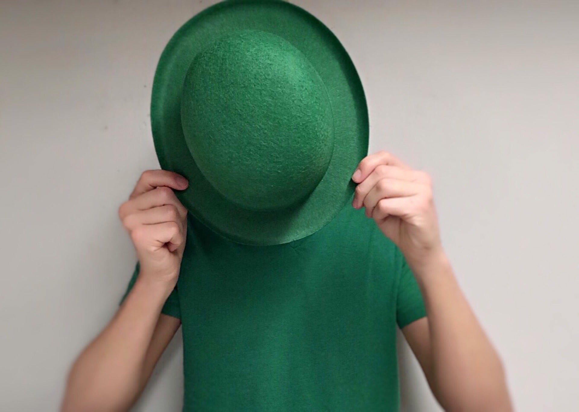 Green hat and shirt