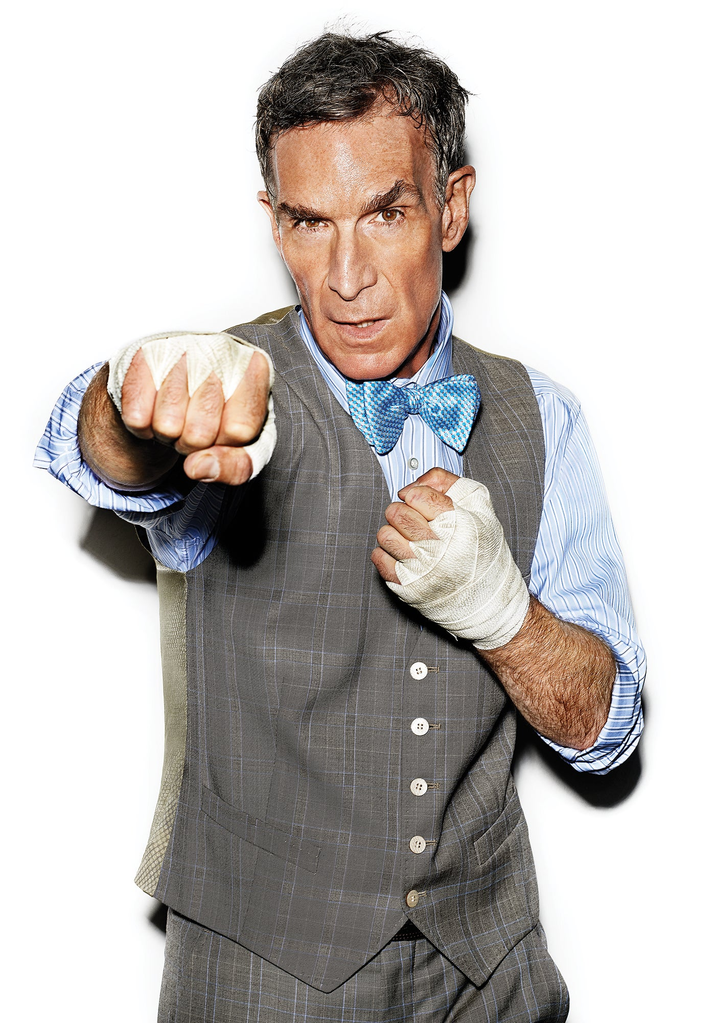 Bill Nye throwing a punch