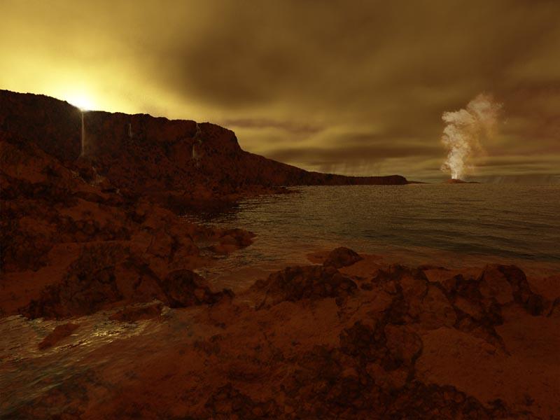 Artist rendering of Titan's shores plus rain