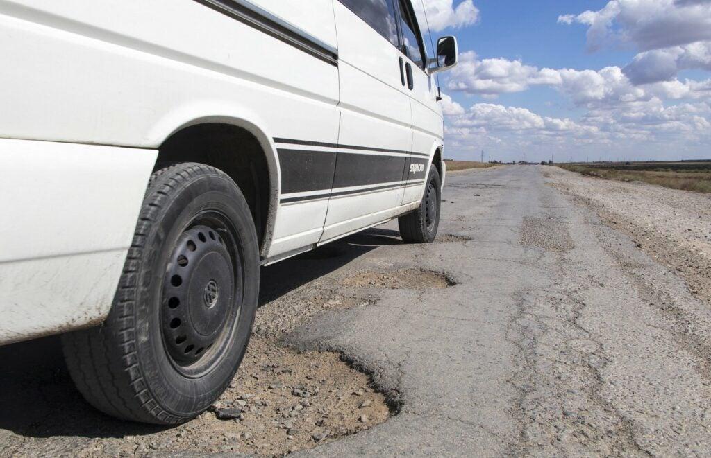 Potholes on a road