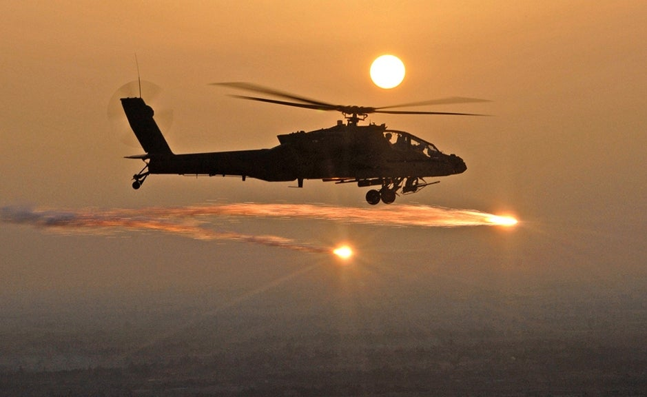 AH-64D Apache Helicopter Fires Flares
