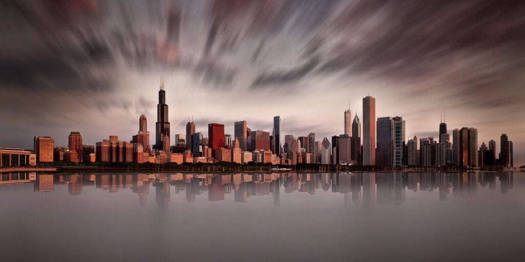 The city of Chicago captured at sunrise