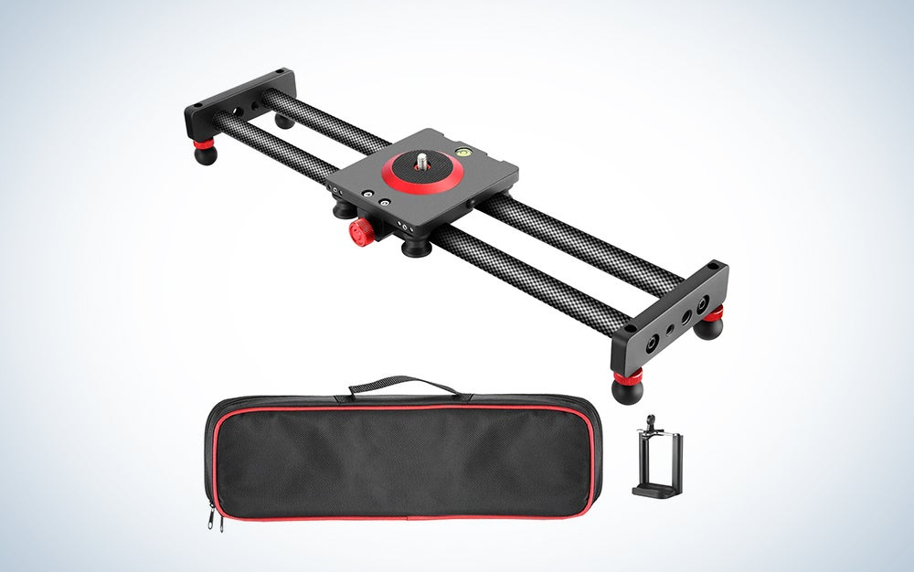 Neewer Camera Slider Video Track Dolly Rail Stabilizer: 39-inch/100cm, Flywheel Counterweight with Light Carbon Fiber Rails, Adjustable Legs, Carry Bag, DSLR Camera Camcorder Track for Filming