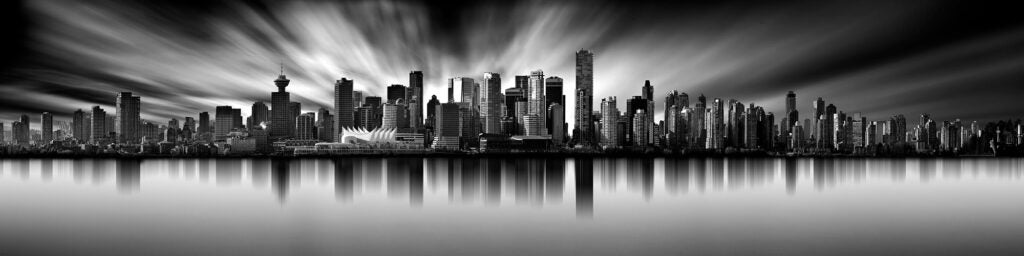 long exposure panorama of the Vancouver skyline